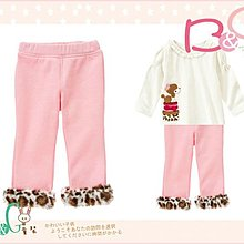 【B& G童裝】正品美國進口GYMBOREE 褲管豹紋圈內軟刷毛粉紅色長褲2,3,4yrs