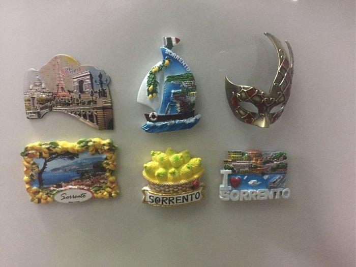 義大利🇮🇹帶回冰箱磁鐵~蘇連多/阿爾瑪菲海岸/威尼斯/羅馬,另外還有法國巴黎鐵塔磁鐵