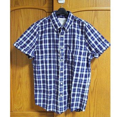 美國AMPM【現貨S132】AF  A&F 男 Sawteeth Mountain 藍色格紋短袖襯衫 L號