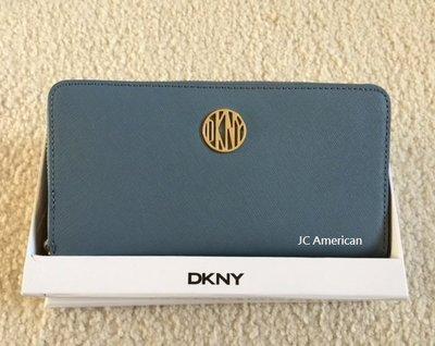 DKNY 高尚優雅 防刮皮革材質  淡藍色 拉鍊長夾 附盒子 ~現貨在台