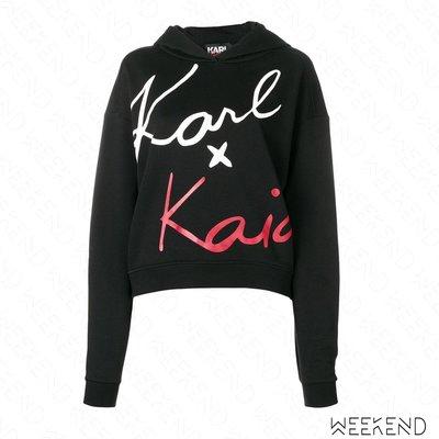 【WEEKEND】 KARL LAGERFELD X KAIA 簽名 卡爾 長袖 短版 連帽 衛衣 黑色 18秋冬