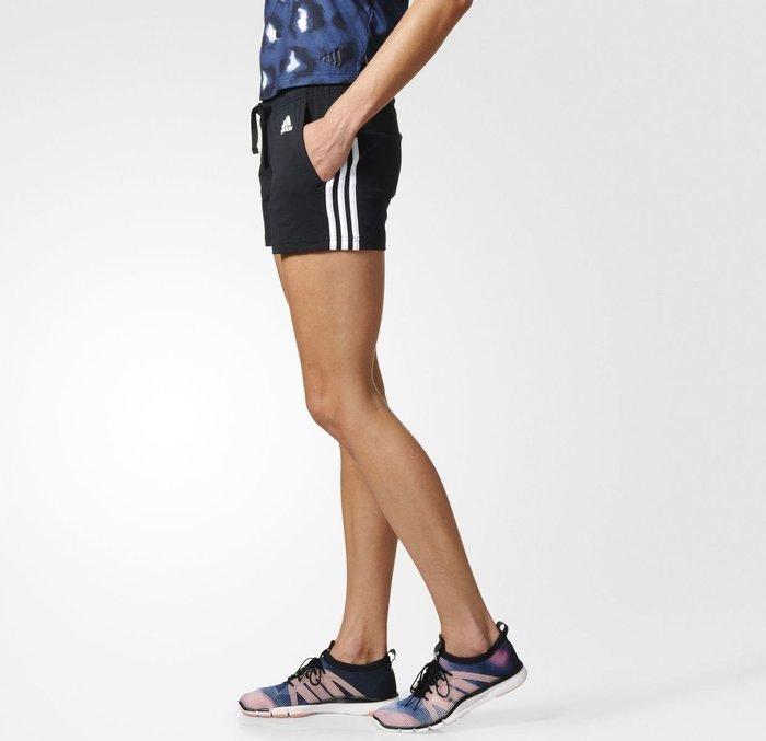 運動GO~ adidas 愛迪達 運動 休閒 穿搭 女 針織 棉 短褲 黑 健身房 基本款 BR5963