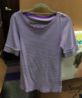 購Happy~歐美品牌 SEG'MENTS 女款純棉條紋五分袖上衣 紫/L