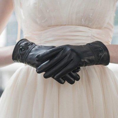 真皮手套 保暖手套-加絨羊皮皮扣休閒女手套73wm44[獨家進口][米蘭精品]