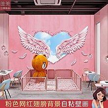墻貼畫貼紙粉紅色翅膀裝飾網紅背景墻貼畫墻紙自粘壁畫少女心墻貼#壁紙#墻紙#自粘#防水#墻貼