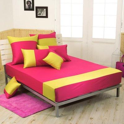 《60支紗》雙人床包【洋紅x萊姆黃】魔術方塊 100%精梳棉-麗塔寢飾- (出清品,下標前請詢問)