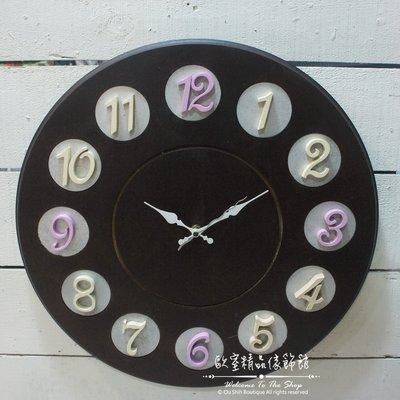~*歐室精品傢飾館*~鄉村風格 木製 現代 簡約 圓型 魔幻 數字 造型 掛鐘 時鐘 牆面裝飾 布置 ~新款上市~