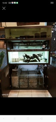四尺系統底濾魚缸(白鐵貼木紋皮