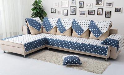 【RS雜貨舗】90x90cm 沙發墊沙發巾沙發罩床墊床前墊床旁電視櫃墊客廳地墊 圓點藍白款 [90*90cm專區] 新北市