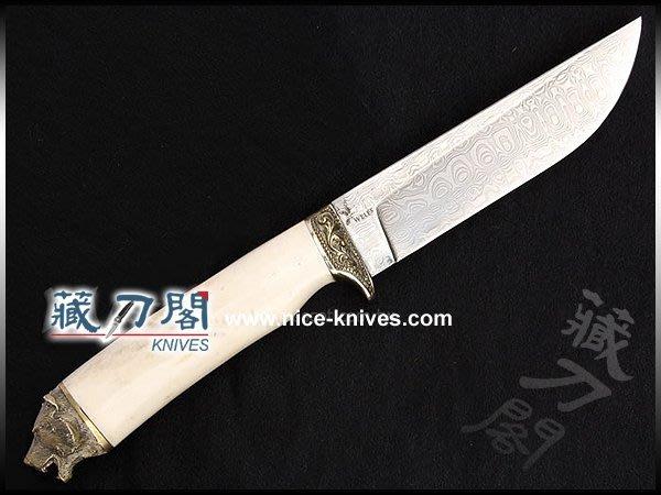 《藏刀閣》歐美手工刀-熊-鎳銀雕刻直刀(麋鹿角柄)