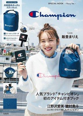 ☆Juicy☆日本雜誌附錄 冠軍 Champion 防水 托特包 手提包 手拎包 便當袋+鏡子 化妝鏡 7239藍