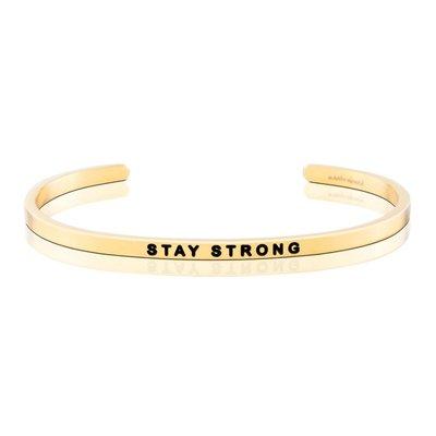 MANTRABAND 美國悄悄話手環 STAY STRONG 勇敢戰勝一切 金色手環