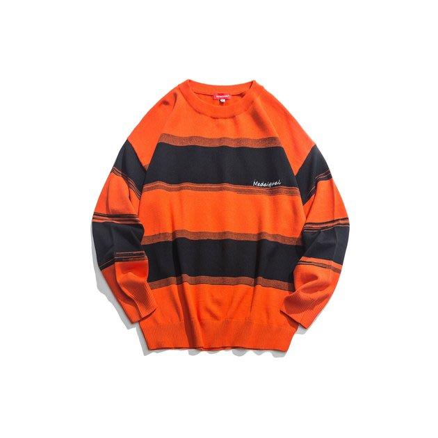 FINDSENSE 2019 秋季上新 G7 條紋撞色刺繡套頭素面毛衣 上衣 男裝
