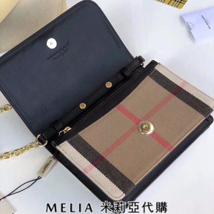 Melia 米莉亞歐洲代購 巴寶莉 戰馬 英國名品 18ss 方包 斜背包 鍊條包 掀蓋扣 帆布配牛皮 格紋黑色