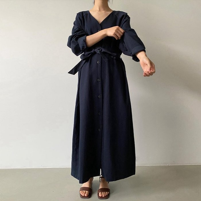 SeyeS NYLON古著時尚韓系簡約V領優雅開扣綁帶洋裝