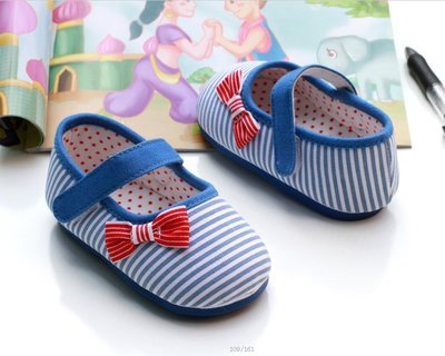 森林寶貝屋~藍條紋公主鞋~ 膠底學步鞋...