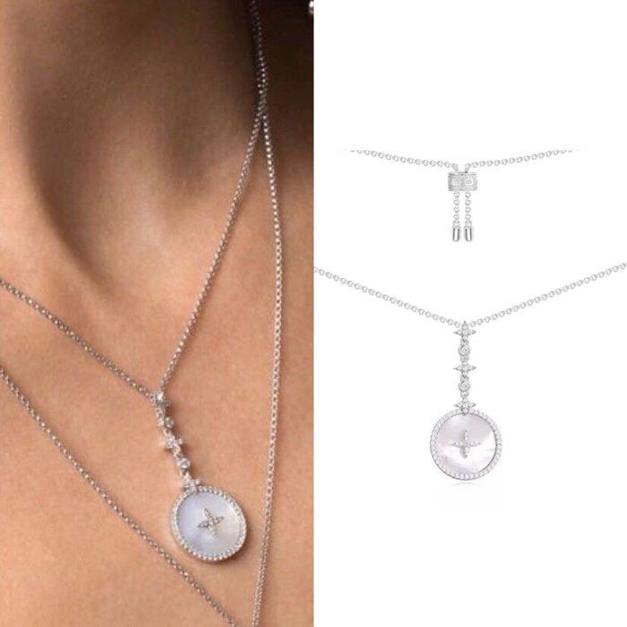 💎1223、(預購) 氣質銀鑲十字星珍珠母貝吊墜名媛項鍊💎正韓飾品 耳環 珠寶 925純銀針