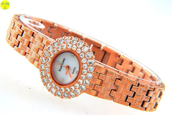 @(六四三精品)@ROYAL(真品)爪鑲鑽錶.圓型錶殼..滿天玫瑰金式錶帶!