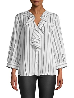 Karl Lagerfeld Paris Striped Ruffled Top