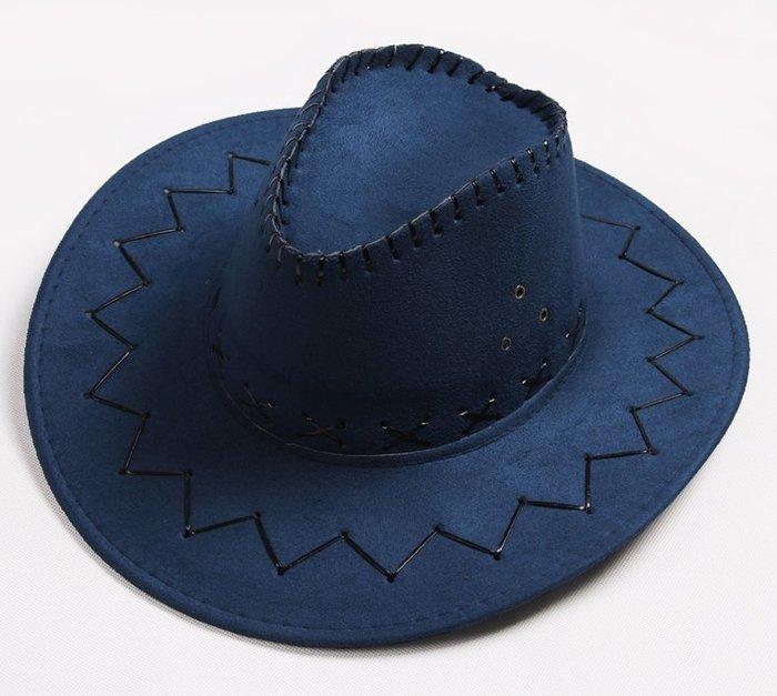 【二鹿帽飾】仿麂皮 皮繩滾邊 舞台表演 牛仔帽/ 西部牛仔帽/ 狩獵帽/表演帽/國小以上表演專用帽-深藍
