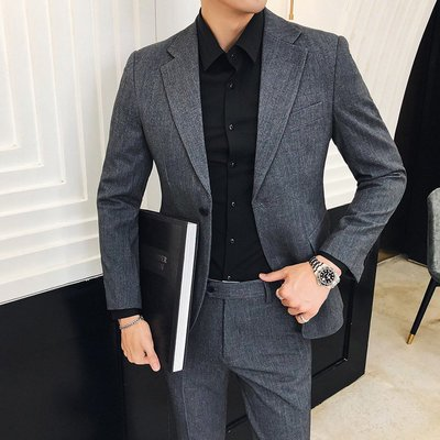 【MOZ潮流男装】青年韓版男士商務職業裝西服套裝潮流款純色一粒扣西裝兩件套