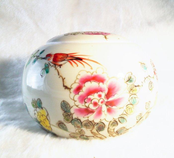 【心聚福香堂】(編號Y06)富貴牡丹彩繪陶瓷香粉罐 特價$500 沉香香料罐 香道具/茶罐/陶瓷儲物罐/儲存罐