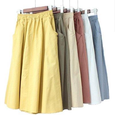 復古鬆緊腰傘裙A字裙 純色舒適寬鬆雙口袋半身裙 艾爾莎【TAE6823】