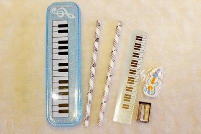 【老羊樂器店】藍色 鋼琴造型 樂器造型 文具組