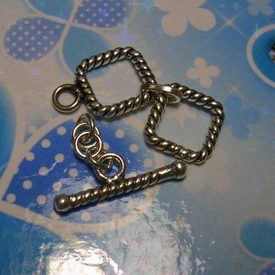 琥珀貓~【925純銀材料配件】OT扣~N8948~方型雙O扣~一組