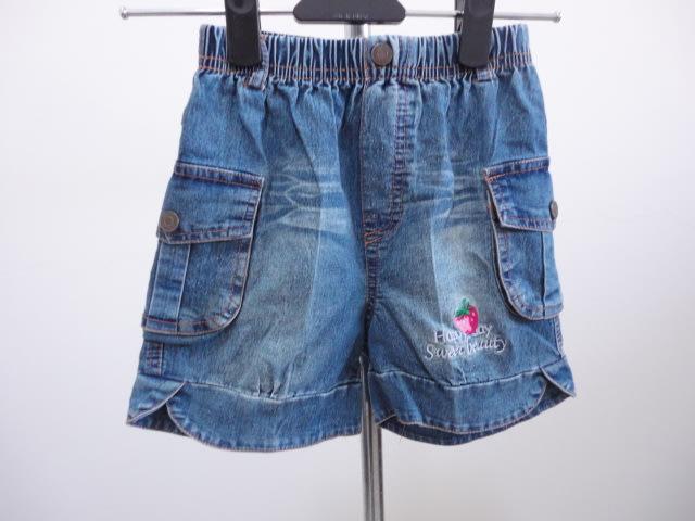 99元起標~草莓圖騰牛仔短褲~藍色~SIZE:8