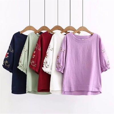 999 韓國連線-新款夏裝大碼女裝5色民族風刺繡顯瘦棉麻五分袖上衣005780