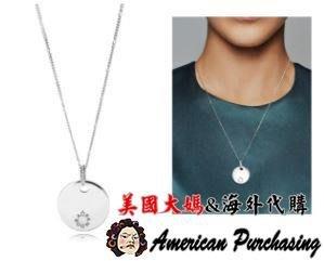 美國大媽代購 PANDORA 潘朵拉 純銀新款拋光圓牌LOGO項鍊 925純銀 CHARMS 美國代購