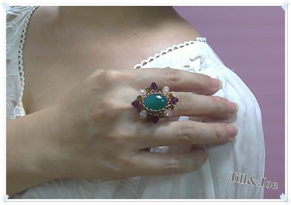 訂製款~奢華綠瑪瑙 雞尾酒玫瑰金戒指.Jill&Joe施華洛世奇水晶合作設計師˙信用卡超商可