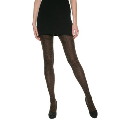 法國DIM-MOD「時尚」系列古典蟒紋造型褲襪-黑咖- REF012X-NR/CH