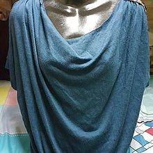 藍綠色晶鑽垂領短袖上衣