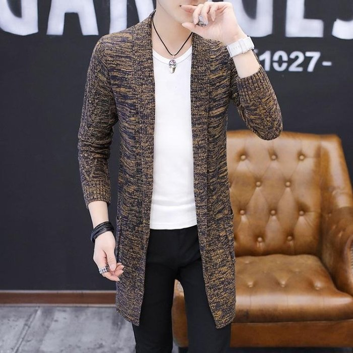 秋裝新款男裝男士毛衣線衣針織開衫男潮修身中長款披風針織外套男