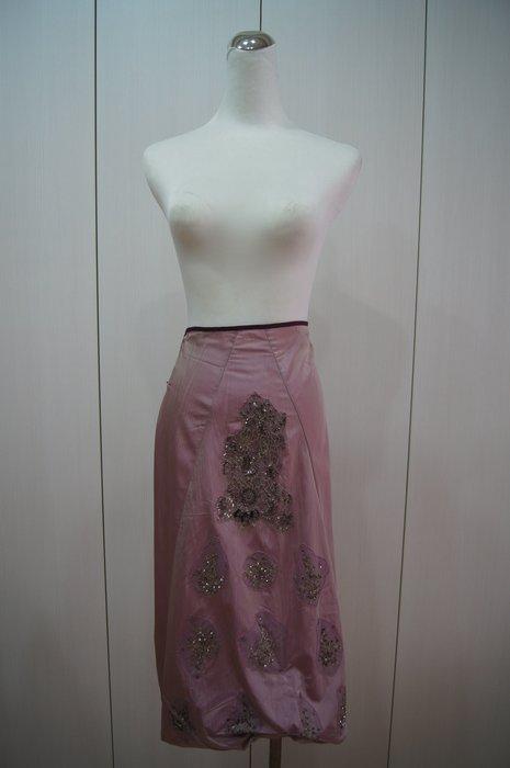 歐洲品牌 ANTONIO MARRAS 粉紫色亮片刺繡抓皺裙     特價 4500