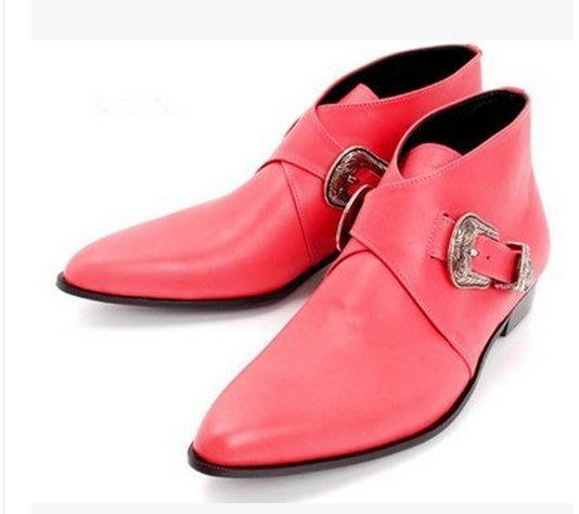 SLP男靴尖頭皮靴純色簡約金屬扣時尚靴純手工短靴 尖頭 真皮 權志隆 GD 韓國 著用 1比1訂製