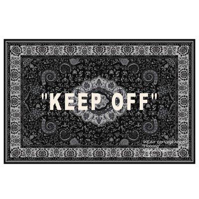 地毯 手工羊毛简约 可爱风IKEA聯名ow宜家off white腰果花keep off 地毯歐式網紅潮牌地毯