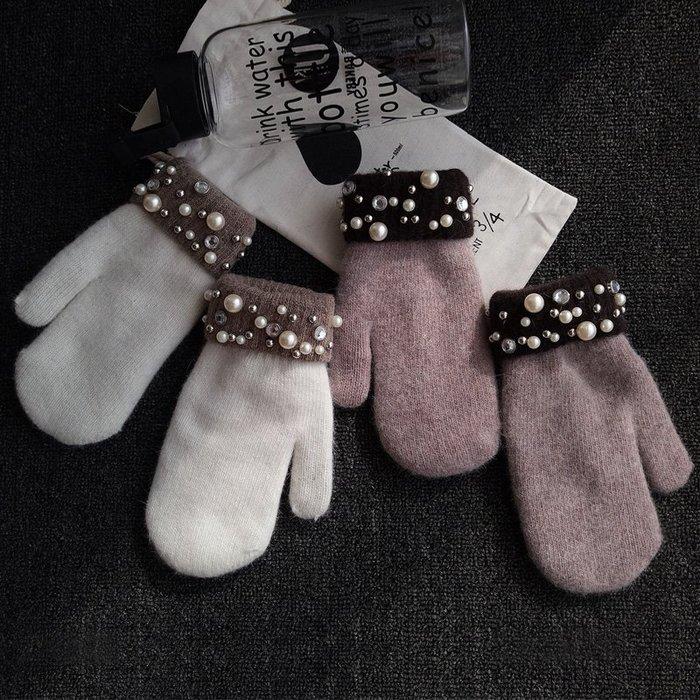 日本兔毛手套 加厚鑽石裝飾 兔毛日本手套 保暖手套 時尚雜誌手套