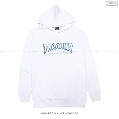 【QUEST】THRASHER HOMETOWN ICE HOODIE 日線 火焰 冰柱 白色 帽T 藍色 寬鬆 嘻哈