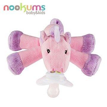 【預購中一月出貨】美國 nookums 寶寶可愛造型搖鈴安撫奶嘴/玩偶-獨角獸【附贈母乳實感奶嘴,適用於90%以上奶嘴】