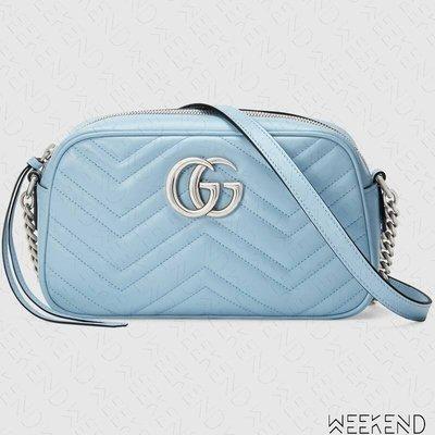 【WEEKEND】 GUCCI GG Marmont Small 小款 山形紋 肩背相機包 淡藍色 447632