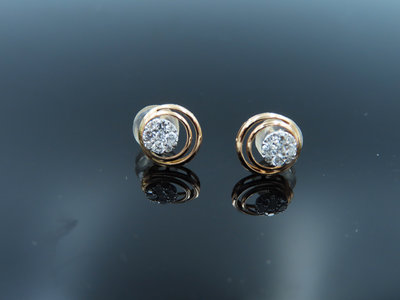 %玉承珠寶%輕珠寶系列~14k玫瑰金天然鑽石圓形曲線耳環DE5