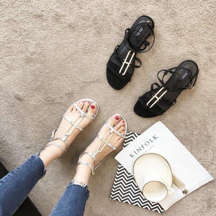 涼鞋女夏2018新款平底學生簡約韓版女鞋百搭平跟綁帶夾腳羅馬涼鞋