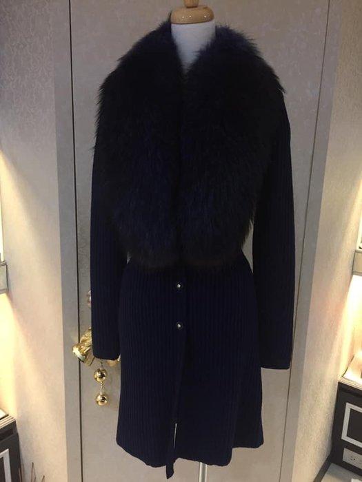 典精品名店 Versace 真品 藍色 裘皮 羊毛 針織 外套 40 ~ 現貨