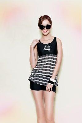 ~ APPLE  ~蘋果牌泳裝降價↘ ~黑白網狀布搭素面長版二件式泳衣  NO.106436