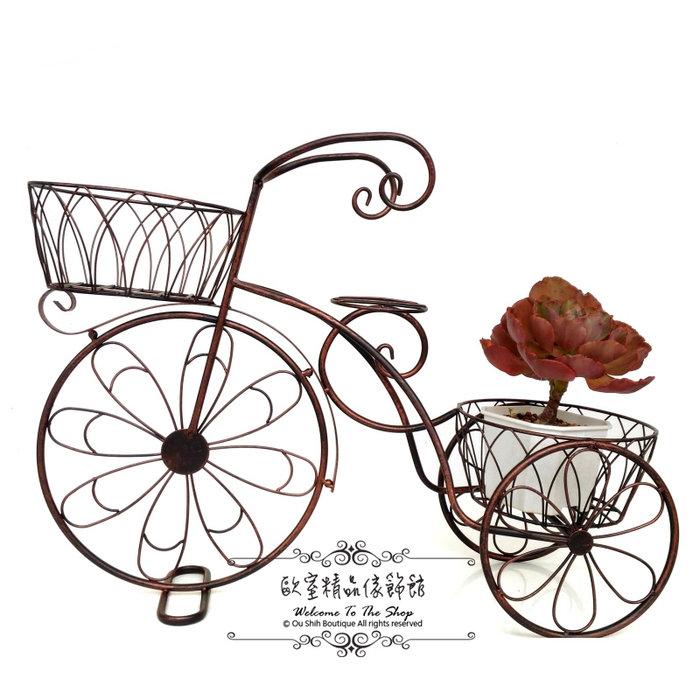 ~*歐室精品傢飾館*~ 鄉村風 鐵製 愛心 古銅色 腳踏車 三輪車 花架 花器 (小) 婚禮布置 庭園 花園~新款上市~