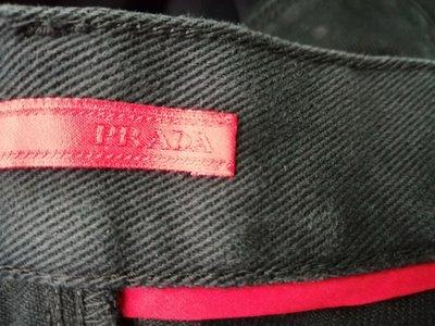 海蒂族Haidis精品系列國際名品PRADA 正品經典基本款紅皮標黑窄管牛仔褲