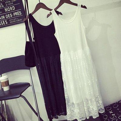 洋裝 打底裙 蕾絲拼接中長款吊帶裙 背心裙 連身裙—莎芭